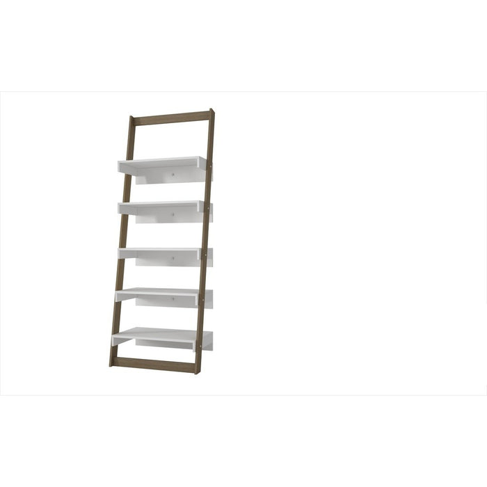 Accentuations by Manhattan Comfort Brilliant Carpina Ladder Shelf with 5- Floating Shelves in an Oak Frame and White ShelvesManhattan Comfort-Bookcases - - 1