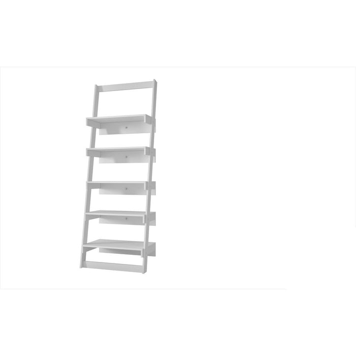Accentuations by Manhattan Comfort Brilliant Carpina Ladder Shelf with 5- Floating Shelves in White Manhattan Comfort-Bookcases - - 1