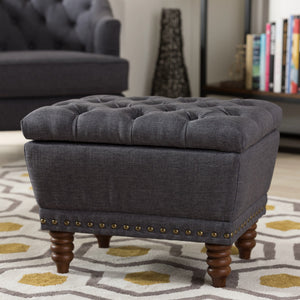 Baxton Studio Annabelle Modern and Contemporary Dark Grey Fabric Upholstered Walnut Wood Finished Button-Tufted Storage Ottoman Baxton Studio-ottomans-Minimal And Modern - 1