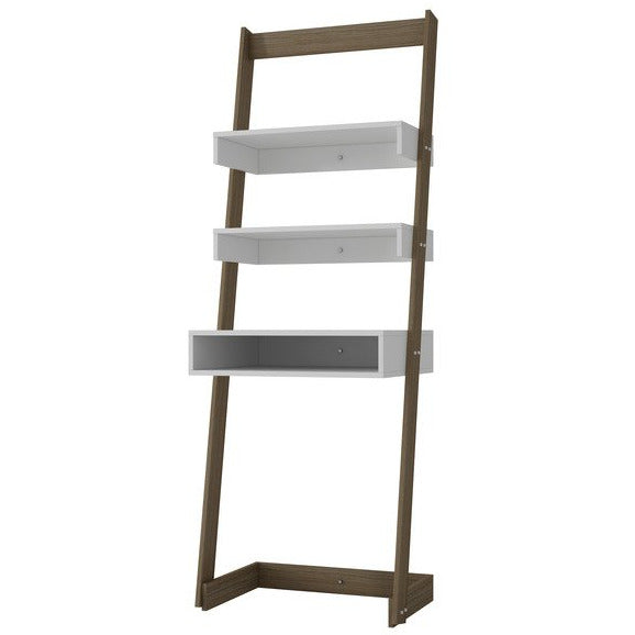Accentuations by Manhattan Comfort Urbane Carpina Ladder Desk with 2 Floating Shelves and 1- Tabletop and Cubby in and Oak Frame and White Shelves Manhattan Comfort-Bookcases - - 1