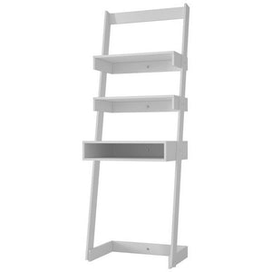 Accentuations by Manhattan Comfort Urbane Carpina Ladder Desk with 2 Floating Shelves and 1- Tabletop and Cubby in White Manhattan Comfort-Bookcases - - 1