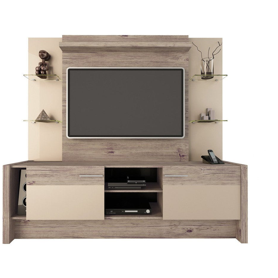 Manhattan Comfort Morning Side Freestanding Theater Entertainment Center Nature and Nude / Pro- Touch and Metallic Gloss, TV Stands - Manhattan Comfort, Minimal & Modern - 1