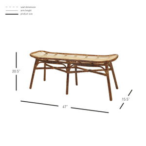 Beyla Rattan Bench by New Pacific Direct - 2400004