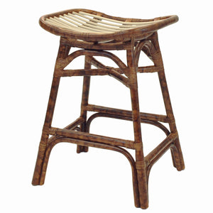 Beyla Rattan Backless Saddle Counter Stool by New Pacific Direct - 2400005