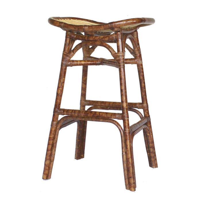 Beyla Rattan Backless Saddle Bar Stool by New Pacific Direct - 2400006