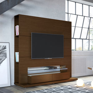 Manhattan Comfort Riverside Freestanding Theater Entertainment Center with LED Lights in Nut Brown-Minimal & Modern