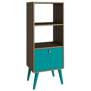 Accentuations by Manhattan Comfort Sophisticated Sami Double Bookcase with 2 Open Shelves and 1- Drawer in Oak and AquaManhattan Comfort-Stands and Side Tables- - 1