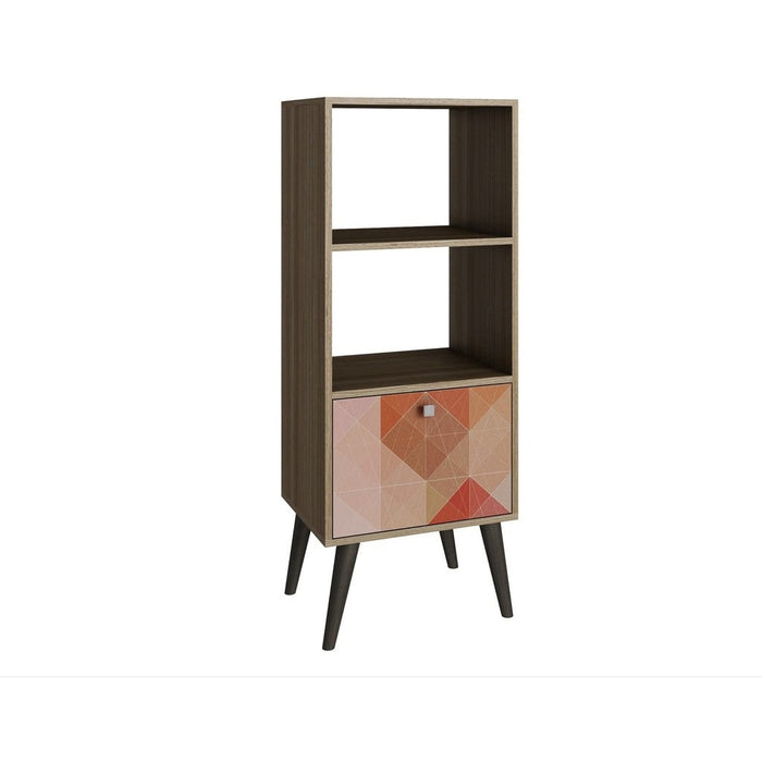 Accentuations by Manhattan Comfort Sophisticated Sami Double Bookcase with 2 Open Shelves and 1- Drawer in Oak and a Colorful Stamp Door Manhattan Comfort-Stands and Side Tables- - 1