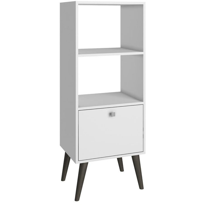 Accentuations by Manhattan Comfort Sophisticated Sami Double Bookcase with 2 Open Shelves and 1- Drawer in WhiteManhattan Comfort-Stands and Side Tables- - 1