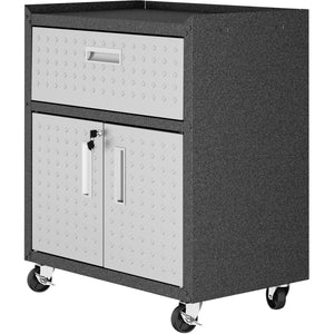 "Manhattan Comfort Fortress Textured Metal 31.5"" Garage Mobile Cabinet with 1 Full Extension Drawer and 2 Adjustable Shelves in Grey-Minimal & Modern"