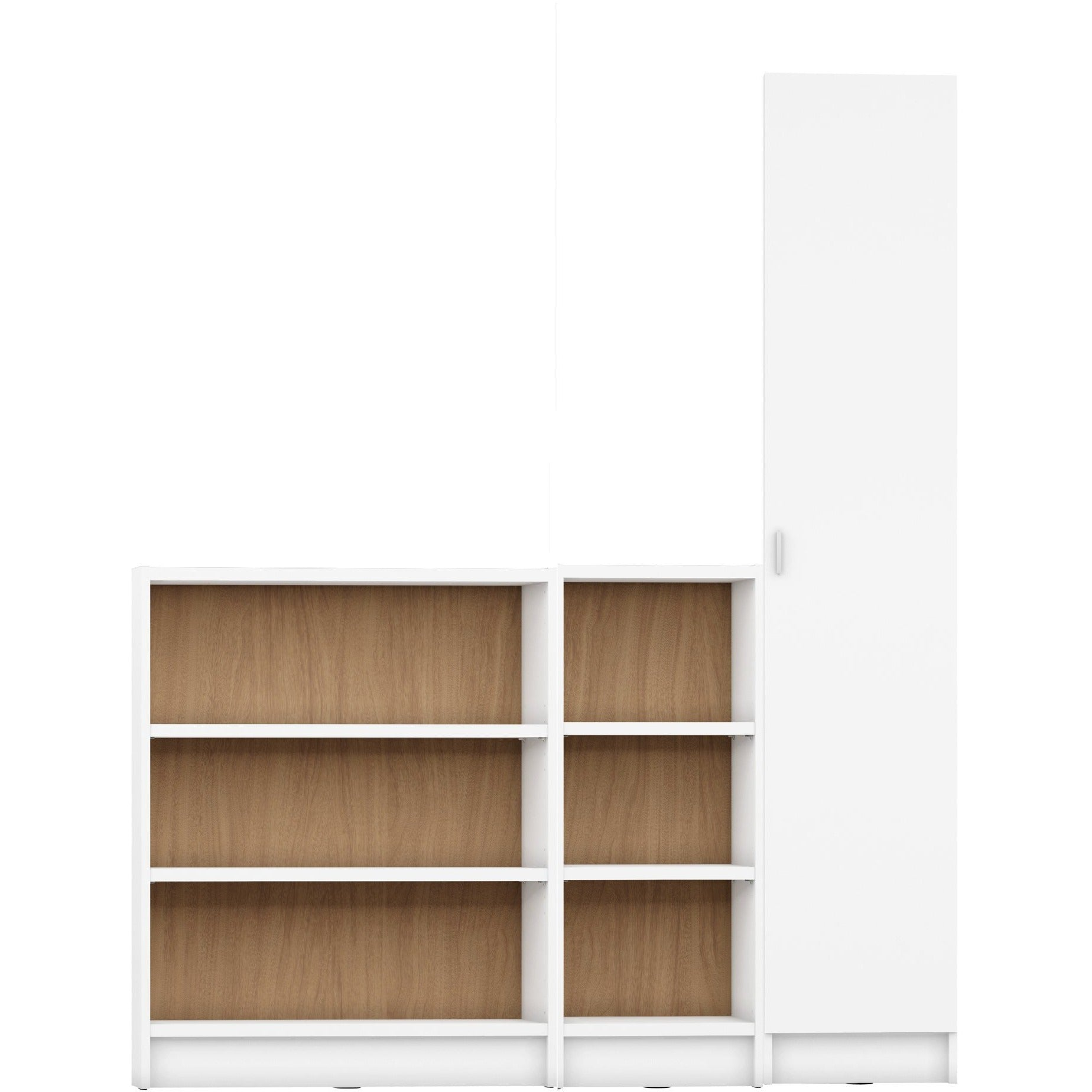 Manhattan Comfort Greenwich 3 Piece Bookcase 12 Wide And Narrow Shelves With 1 Narrow Door In White Matte And Maple Cream