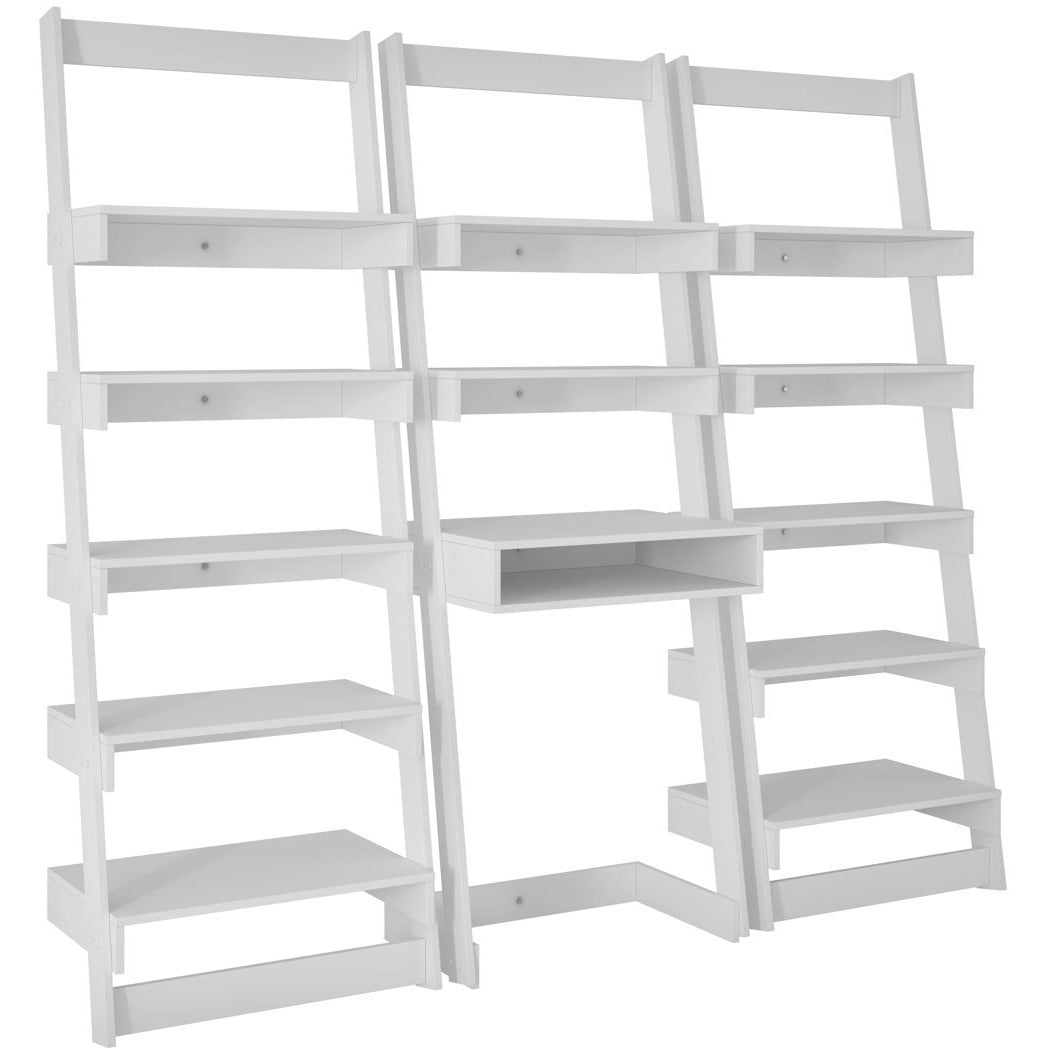 Accentuations by Manhattan Comfort 3 Piece Carpina Home Floating Ladder Shelf Office Desk in White-Minimal & Modern