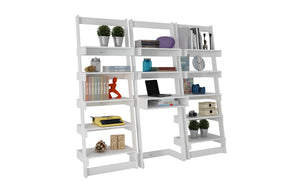 Accentuations by Manhattan Comfort 3 Piece Carpina Home Floating Ladder Shelf Office Desk in White,  - Manhattan Comfort - 2