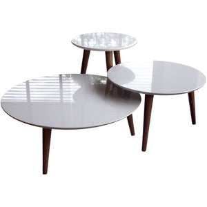 Manhattan Comfort 3- Piece Modern Moore Round End Table in Off White-Minimal & Modern