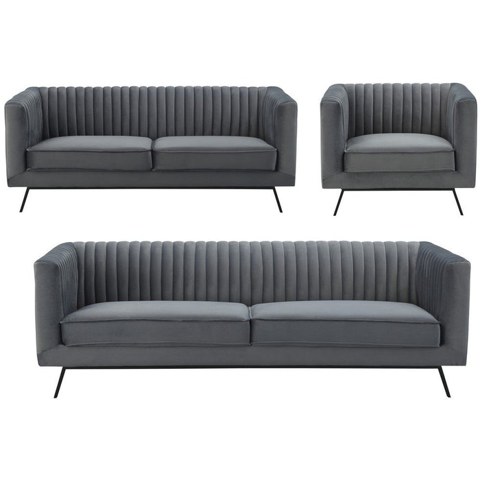 Manhattan Comfort Vandam 3-Piece Charcoal Grey Velvet Sofa, Loveseat, and Armchair Set Manhattan Comfort-Sofa Sets- - 1