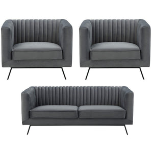 Manhattan Comfort Vandam 3-Piece Charcoal Grey Velvet 2-Seat Loveseat and 2 Armchairs Manhattan Comfort-Sofa Sets- - 1