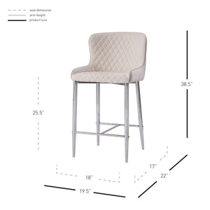 Miles Velvet Fabric Counter Stool - Set of 2 by New Pacific Direct - 3400032