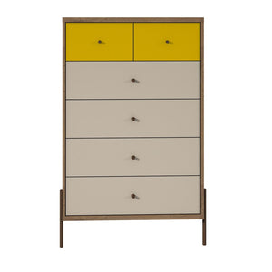 "Manhattan Comfort Joy 48.43"" Tall Dresser with 6 Full Extension Drawers in Yellow and Off White Manhattan Comfort-Dresser- - 1"