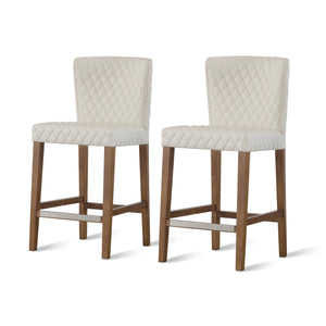 Albie Diamond Stitching PU Leather Counter Stool - Set of 2 by New Pacific Direct - 3900054-342