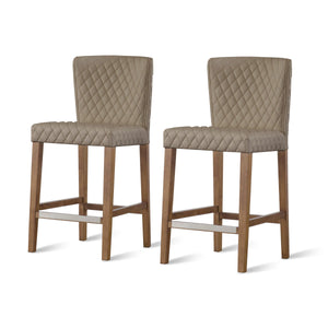 Albie Diamond Stitching PU Leather Counter Stool - Set of 2 by New Pacific Direct - 3900054-343