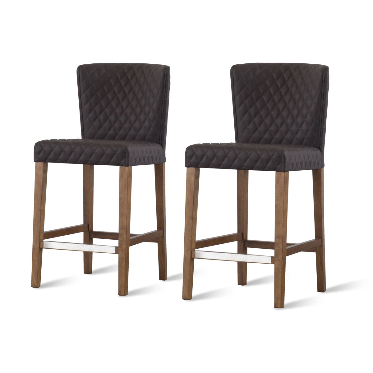 Albie Diamond Stitching PU Leather Counter Stool - Set of 2 by New Pacific Direct - 3900054-401