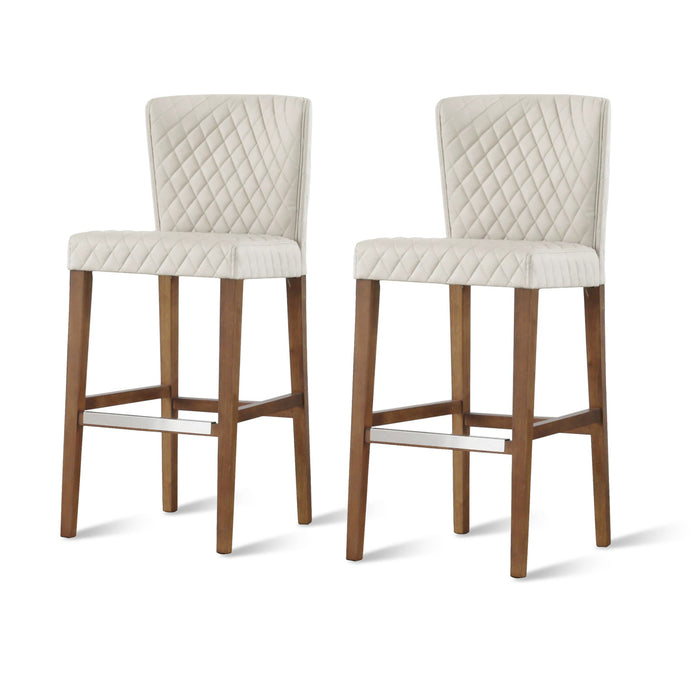 Albie Diamond Stitching PU Leather Bar Stool - Set of 2 by New Pacific Direct - 3900055-342