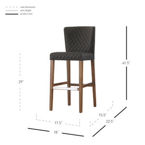 Albie Diamond Stitching PU Leather Bar Stool - Set of 2 by New Pacific Direct - 3900055-401