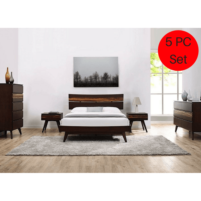 5pc Greenington Azara Modern Bamboo Queen Platform Bedroom Set (Includes: 1 Queen Bed, 2 Nightstands, 2 Dressers)-Minimal & Modern