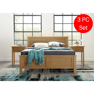 3pc Hosta Greenington Modern Queen Bedroom Set (Includes: 1 Queen Bed & 2 Nightstands)-Minimal & Modern