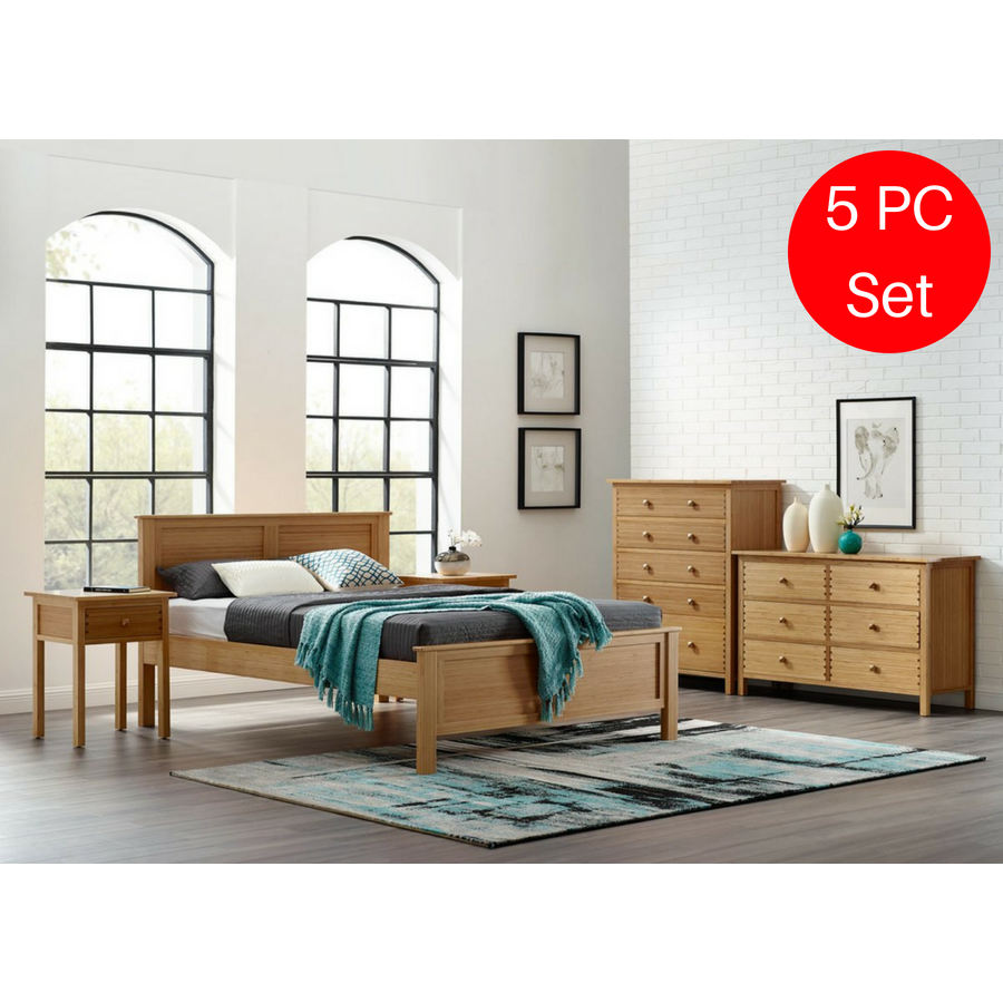 5pc Greenington Hosta Modern Queen Bedroom Set Includes 1 Queen Bed Minimal Modern