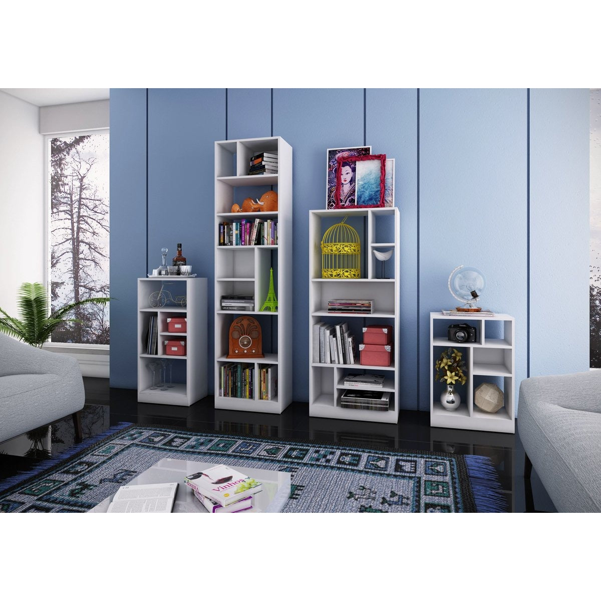 Manhattan Comfort 4 Piece Valenca Bookcase Set in White-Minimal & Modern
