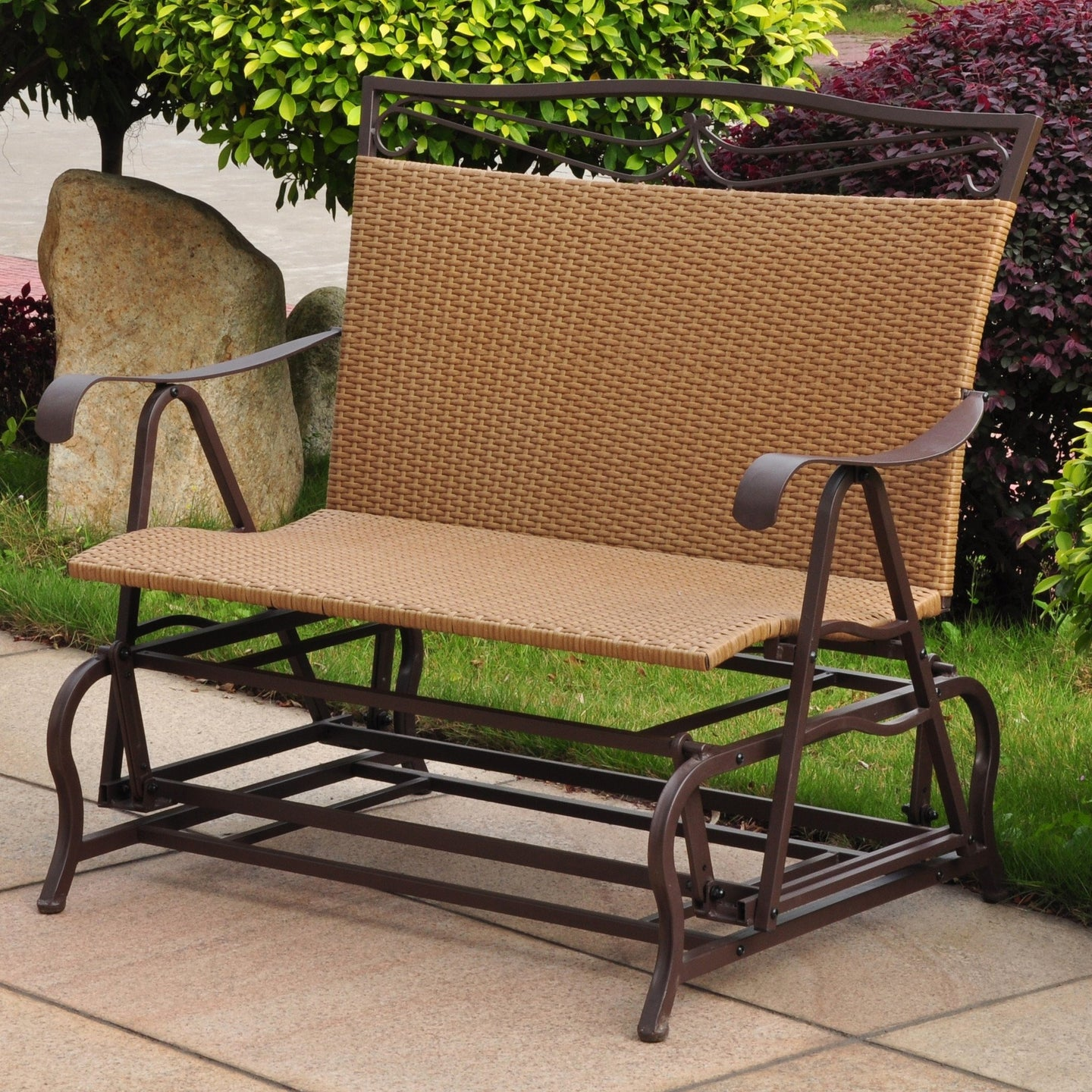 International Caravan Valencia Resin Wicker/Steel Double Glider 4102-DBL-Minimal & Modern
