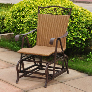 International Caravan Valencia Resin Wicker/Steel Single Glider 4103-SGL-Minimal & Modern
