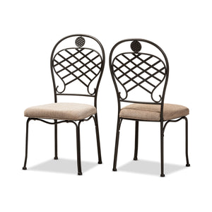 Baxton Studio Hera Rustic Industrial Beige Fabric Upholstered and Black Finished Metal Dining Chair Set of 2 Baxton Studio-dining chair-Minimal And Modern - 1