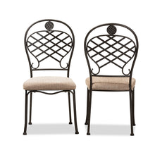 Baxton Studio Hera Rustic Industrial Beige Fabric Upholstered and Black Finished Metal Dining Chair Set of 2 Baxton Studio-dining chair-Minimal And Modern - 2