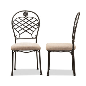 Baxton Studio Hera Rustic Industrial Beige Fabric Upholstered and Black Finished Metal Dining Chair Set of 2 Baxton Studio-dining chair-Minimal And Modern - 3