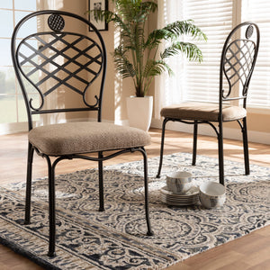 Baxton Studio Hera Rustic Industrial Beige Fabric Upholstered and Black Finished Metal Dining Chair Set of 2 Baxton Studio-dining chair-Minimal And Modern - 5