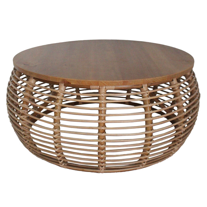 Iris Rattan Round Coffee Table by New Pacific Direct - 4900018