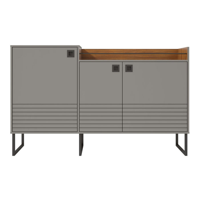 Manhattan Comfort Loft 62.59 Modern Buffet Stand with Safety Display Shelf and Steel Legs in Grey and WoodManhattan Comfort-Theater Entertainment Centers- - 1