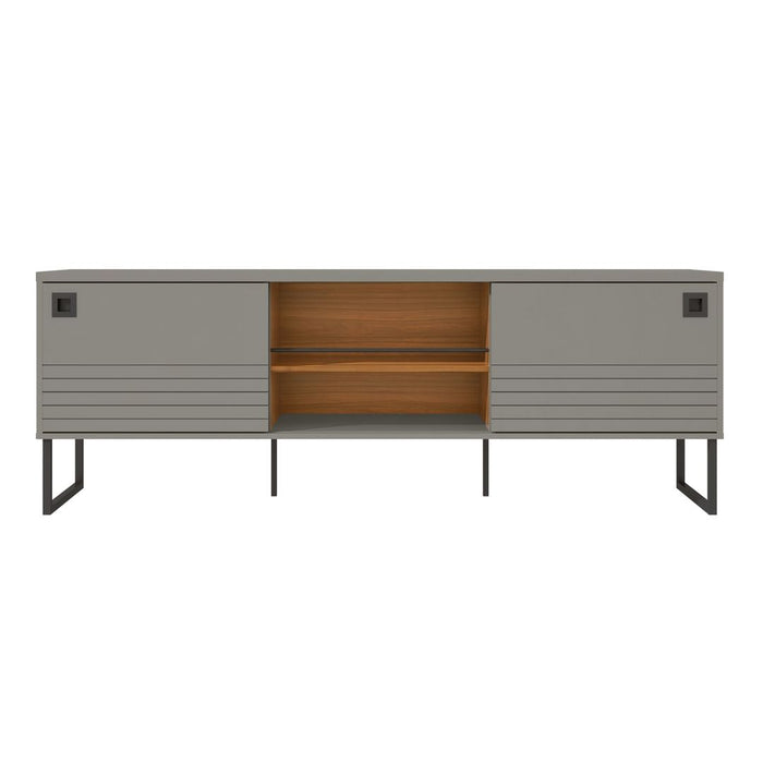 Manhattan Comfort Loft 70.47 Modern TV Stand with Media Shelves and Steel Legs in Grey and WoodManhattan Comfort-Theater Entertainment Centers- - 1