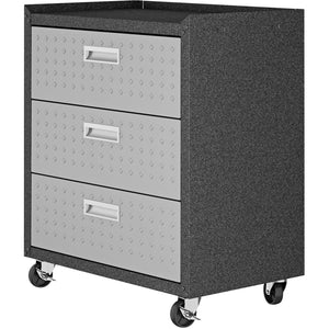 "Manhattan Comfort Fortress Textured Metal 31.5"" Garage Mobile Chest with 3 Full Extension Drawers in Grey-Minimal & Modern"