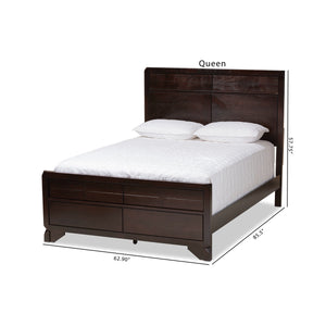 Baxton Studio Tichenor Modern and Contemporary Dark Cherry Finished Wood Queen Size Bed Baxton Studio-0-Minimal And Modern - 8