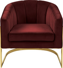 Meridian Furniture Carter Burgundy Velvet Accent Chair