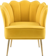 Meridian Furniture Jester Yellow Velvet Accent Chair