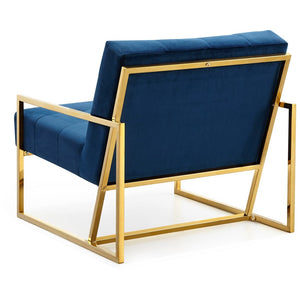 Meridian Furniture Pierre Navy Velvet Accent Chair-Minimal & Modern