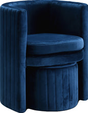 Meridian Furniture Selena Navy Velvet Accent Chair and Ottoman Set