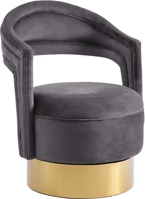 Meridian Furniture Petrona Grey Velvet Accent ChairMeridian Furniture - Accent Chair - Minimal And Modern - 1