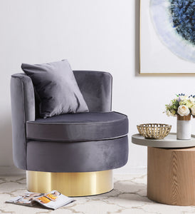 Meridian Furniture Kendra Grey Velvet Accent Chair