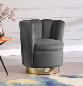 Meridian Furniture Lily Grey Velvet Accent Chair