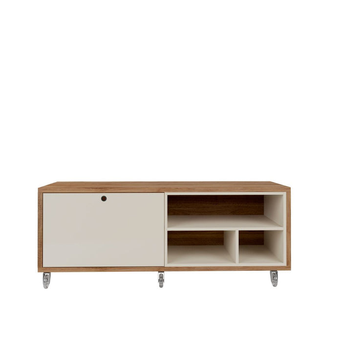 Manhattan Comfort Windsor 53.62 Modern Shoe Rack Bed Bench with Silicon Casters in Off White and Nature Manhattan Comfort-Shoe Closet- - 1